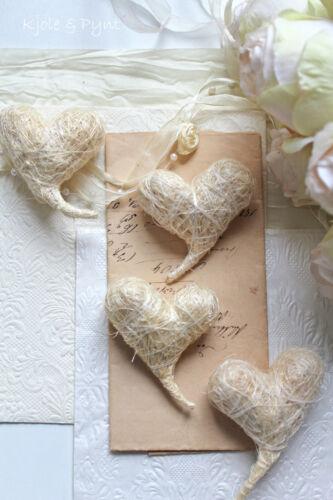 sisalherzen boda set crema blanco curvada corazones de 5 x 6,5 cm 0,60 €//st