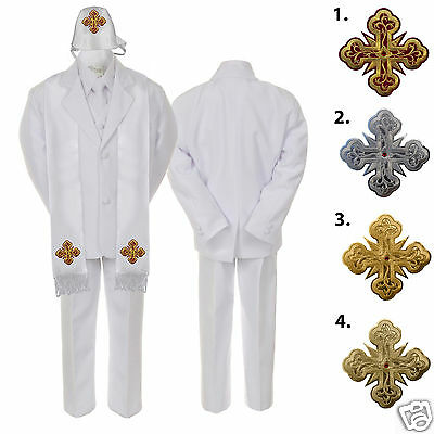 New Fashion 5 6 7pc White Baby Boys Notch Lapel Necktie Formal Tuxedos Suits Cross Hat Stole Pure White And Translucent
