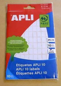Vielzwecketiketten APLI 01632, weiß 8 x 12mm, Aufkleber, 1200 Stück Neu OVP