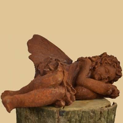 Elfe schlafend Statue-Skulptur Antik Rost Eisen Garten Dekoration Engel Flügel