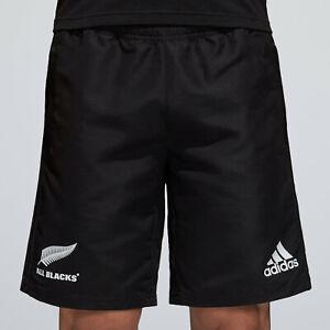 Adidas Homme New Zealand All Blacks 2018 Tissé Rugby Sports Training Shorts Noir-afficher Le Titre D'origine