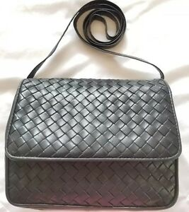 Image is loading Vintage-Bottega-Veneta-Purse-Nero-Black-Intrecciato-Leather - d918e2c9fee8b