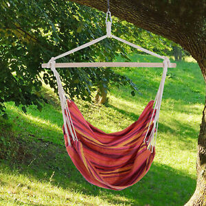 Hanging Woven Hammock Seat Rope Swing Chair Portable w/ Spreader Bar Porch