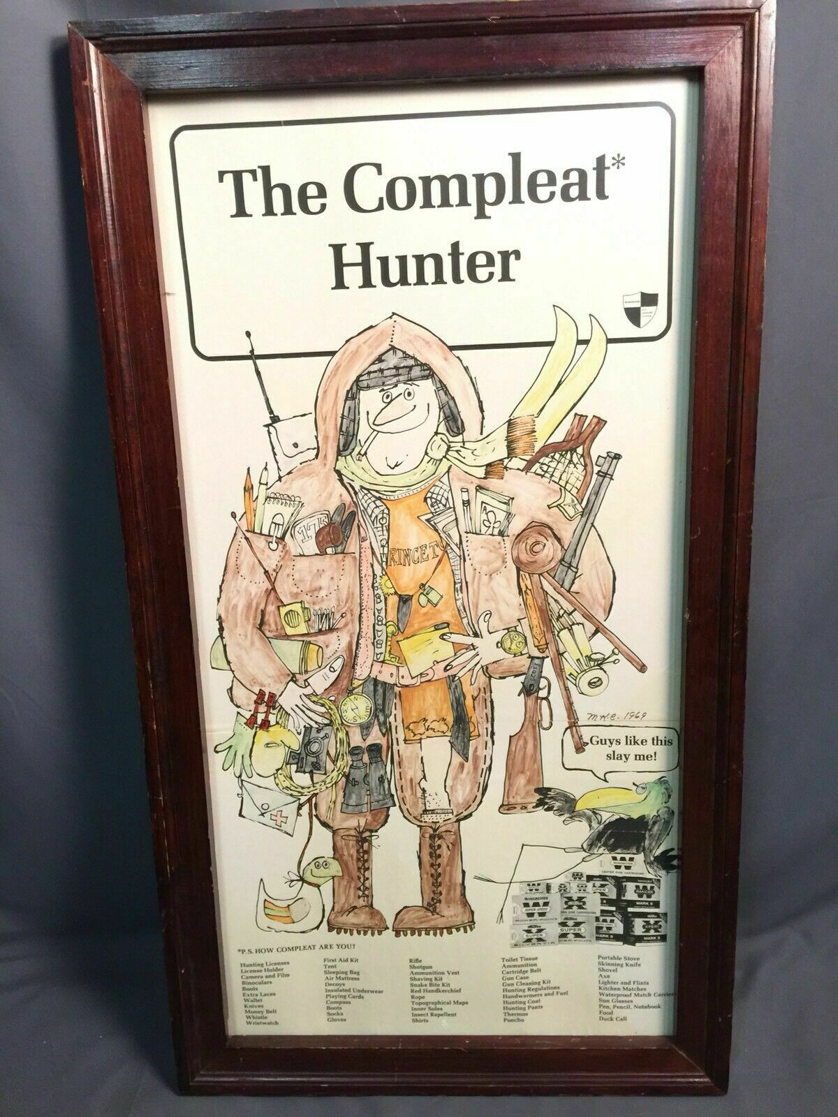 El cazador de cáscara de escopeta winchester Compleat Publicidad Vintage Pantalla EE. UU.