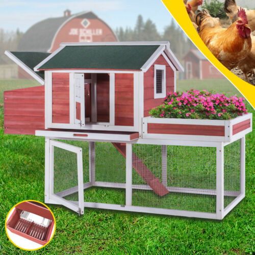 63 Chicken Coop Wooden Poultry Hutch Hen House Nest Cage Box Large Display Top