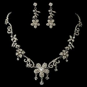 85507f9c4 Image is loading Bridal-Swarovski-Crystal-Bead-Rhinestone-Flower-Necklace -amp-