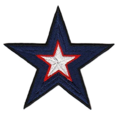 ah16 Stern Blau Weiß Aufnäher Bügelbild Applikation Patch Kleidung Star Flicken
