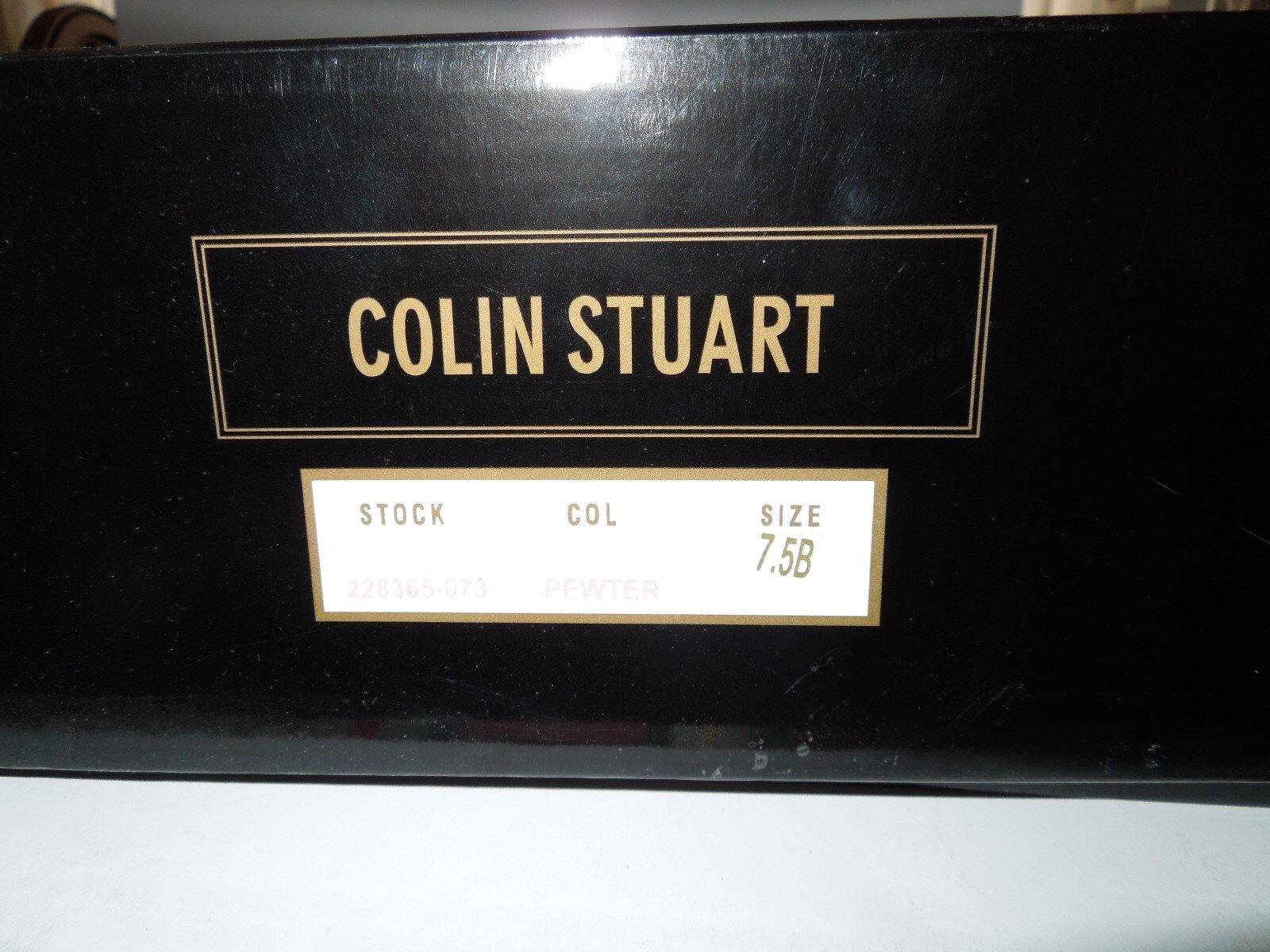 EUC VS Colin Knee/Cuff Stuart Distressed Pewter Metallic Pelle Over Knee/Cuff Colin Stivali 7.5M dd4a73