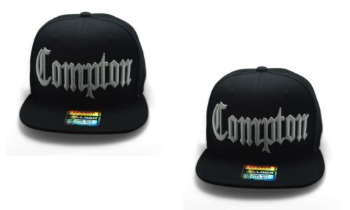 Black//White COMPTON hat 3D embroidered Snapback Baseball cap Flat Hiphop Bill