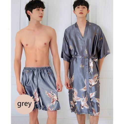 2Pcs Men Kimono Bathrobe Pajamas Sleepwear Gown Shorts Faux Silk Satin Crane