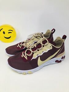 Men-039-s-Nike-React-Element-55-Florida-State-FSU-Seminoles-Shoes-CK4838-600-Sz-9-5