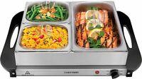 Chefman Electric Buffet Server + Warming Tray w/ Adjustable Temp Hot Plate