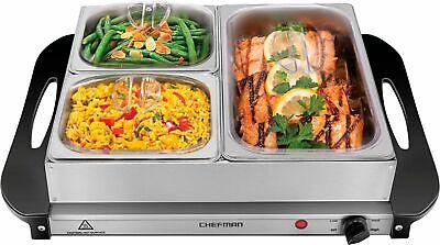CHEFMAN - Electric Buffet Server + Warming Tray w/ Adjustable Temp Hot Plate,...