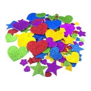 Self-Adhesive-Glittered-Foam-Stickers-Arts-amp-Crafts-Love-Hearts-Stars-100-Pack