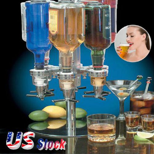 6 Bottle Bar Beverage Liquor Dispenser Alcohol Drink Shot Cabinet Stand Rotary