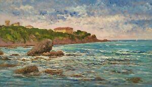 Quadro Paesaggio Mare Dipinto Olio Impressionista Firmato Biagio Chiesi Livorno