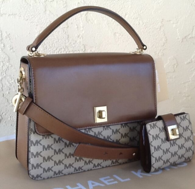 f85dfe7a68f6a Authentic Michael Kors Large Leather Natalie Heritage Signature ...