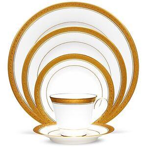 Noritake China Crestwood Gold 60pc China Set Service For 12 Ebay