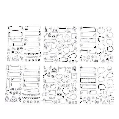 Cute 6 Sheet Paper Stickers for Diary Scrapbook Calendar Photo Decor DIY