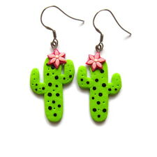 handmade OOAK flower cactus succulents green plant dangle drop jewelry earrings