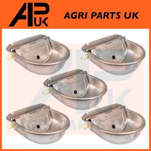 5 x Stainless Water Trough Bowl Automatic Drinking Drinker Cattle Chicken Donkey