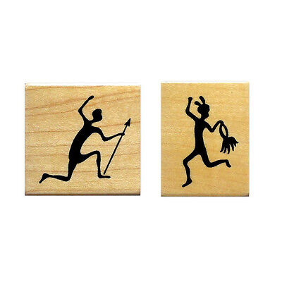 ethnic Sweet Grass Stamps No.17 TRIBAL Dancer /& Hunter UNMOUNTED rubber stamp set Africa