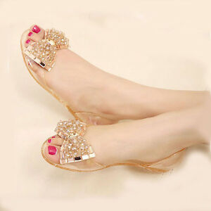 2eab2afa7 Women s Fashion Beaded Jelly Flats Bow Sandals Clear Summer Beach ...