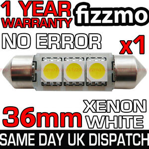 ERROR-FREE-CANBUS-3-SMD-LED-36mm-239-272-C5W-XENON-WHITE-NUMBER-PLATE-LIGHT-BULB