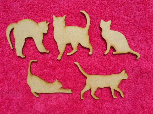 Wooden MDF Cat craft blank shapes, Plaques, Embellishments, 3mm Thick