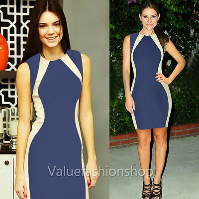 Womens Celeb Colorblock Optical Illusion Cocktail Party Bodycon Pencil Dress 023