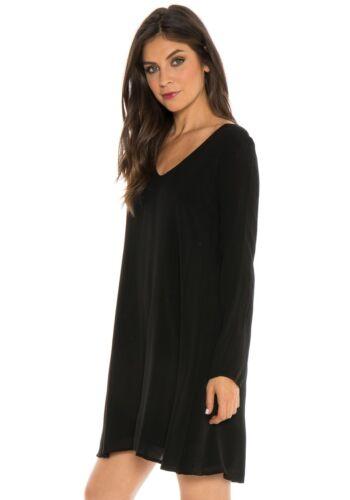 Nuevo Cloth & Stone Szxs Cuello en V Cordones Espalda Vestido Manga Larga Negro