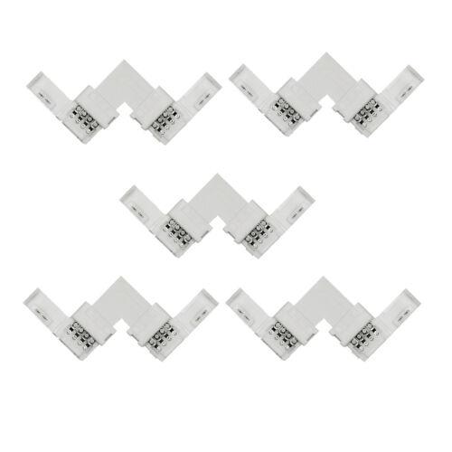 10mm RGB 4Pin LED Strip Light Corner Coupler Connectors 5050 90° L Snap Clip