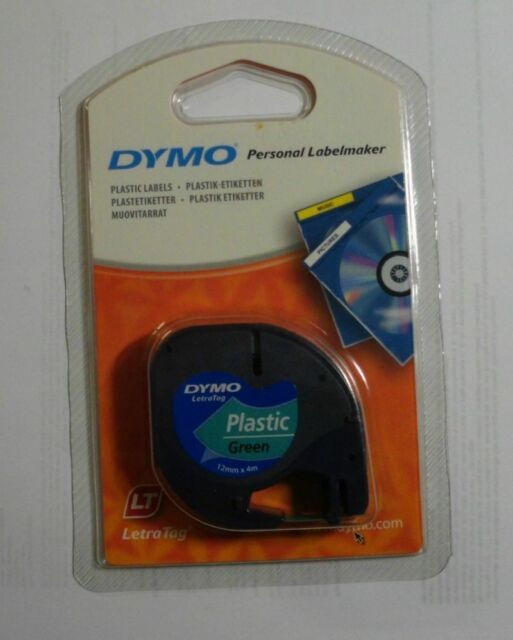 DYMO S0721690 Plastik Etiketten schwarz auf grün 12mmx4m 91224 OVP A