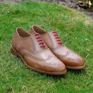 Men-039-s-Oxfords-Shoes-Handmade-Tan-Brown-Brogue-Wing-Toe-Party-Casual-Calf-Leather