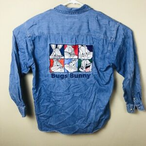 VTG-90-s-Looney-Tunes-Bugs-Bunny-Men-039-s-Denim-Shirt-Large-WB-Warner-Bros-1995
