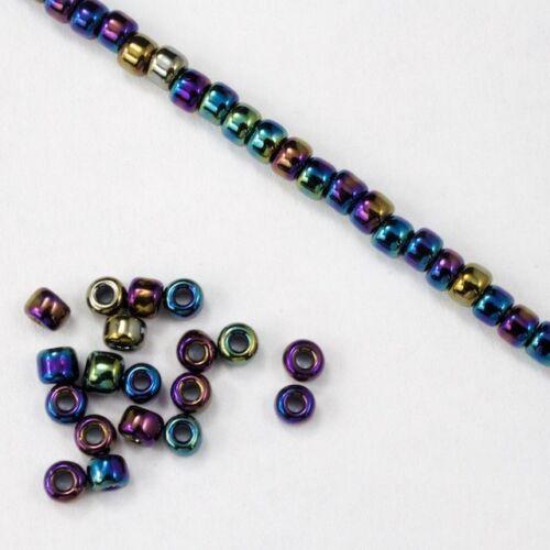 #JFP004 8//0 Metallic Blue Iris Seed Bead 40 gram