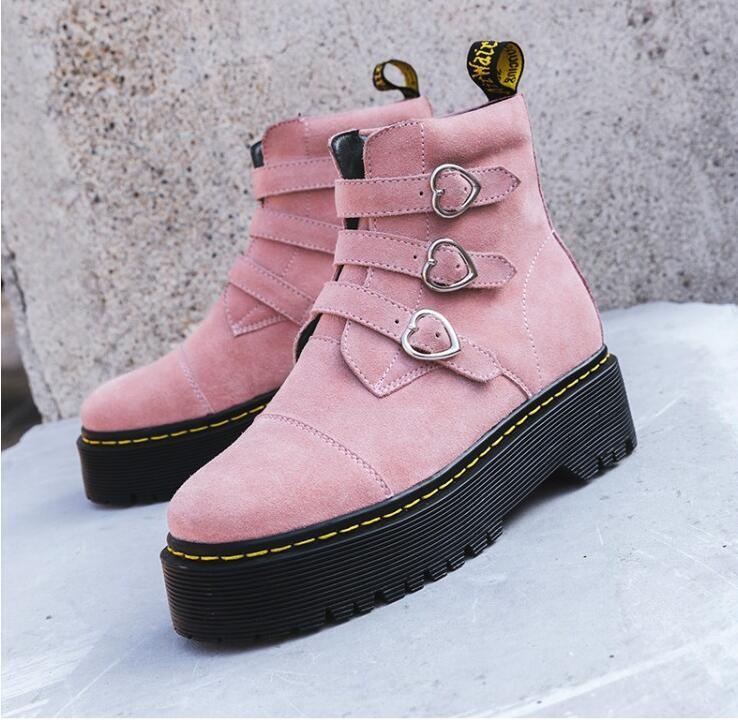 Women Winter Round Toe Flats Buckle Buckle Buckle Strap Heart Print Ankle  Boots Sneaker shoes 3281d5