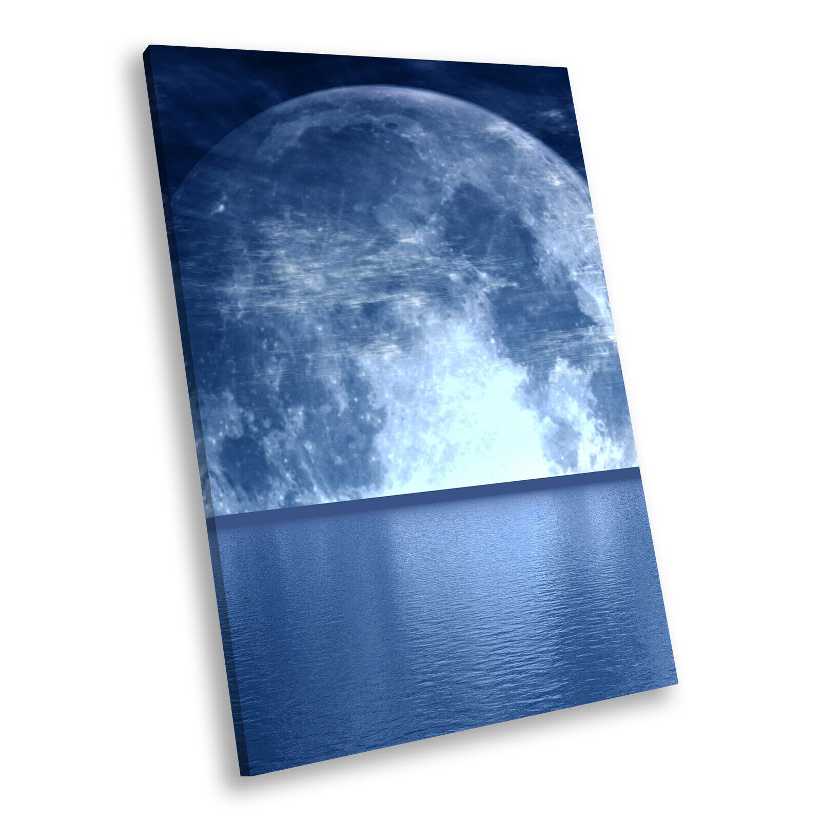 Blau Moon Ocean Nature Cool Portrait Scenic Canvas Wall Art Large Picture Prints