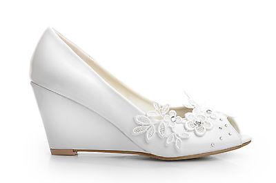Weiß Patent Zeh ausschnitt Keilabsatz Hochzeit Brautschuhe Pumps UK 3 4 5 6 7