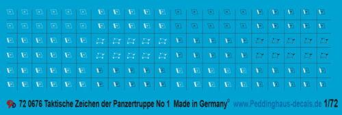 Peddinghaus-Decals 1//72 676 Taktische Zeichen Wehrmacht Panzertruppe Satz 1