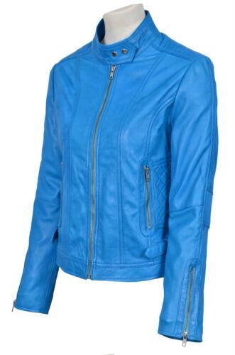Gina femme 3061 bleu fashion cool rétro style motard moto veste en cuir