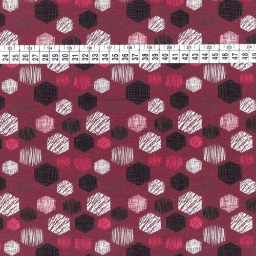 Sustancia Jersey presión algodón Hexagon bottle blanco negro rojo rosa