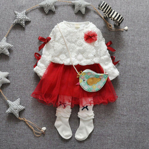 Autumn Infant Baby Dress Girls Party Lace Tutu Princess Dress Clothes Outfits