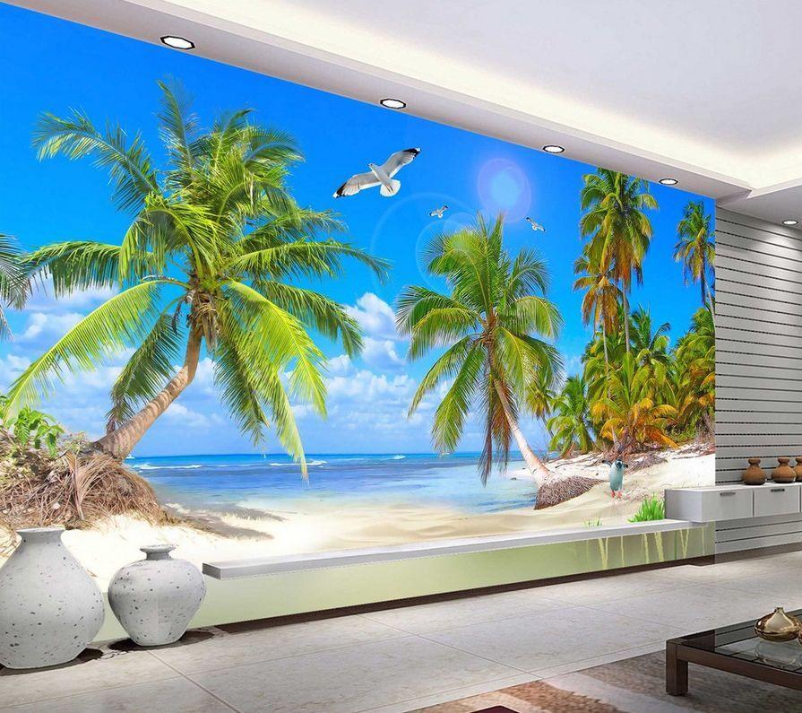 3D Beach Seagulls Coconut Tree 38 Wall Paper Wall Print Decal Wall AJ Wall Paper