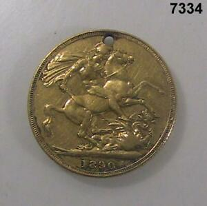 1890 BRITISH GOLD FULL SOVEREIGN 1/4 OZ WITH HOLE #7334