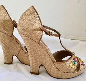 3b345f0a0a5f DKNY Italy T-Strap Wedge Sandals Tan Camel yellow green pink stones ...