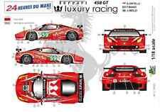 "[FFSMC Productions] Decals 1/18 Ferrari F-458 GT ""Luxury Racing"" (LM 2011)"