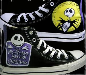 Converse All Star The Nightmare Before Christmas Disegnate a Mano HANDMADE 2018