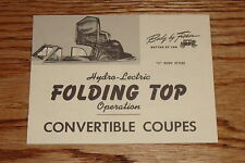 1942-1948 Fisher Chevrolet GM Convertible Folding Top Operation Manual 43 44 45