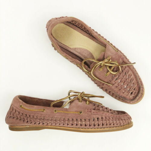 Frye Women's Shoes Quincy Boat Pink Salmon Braided